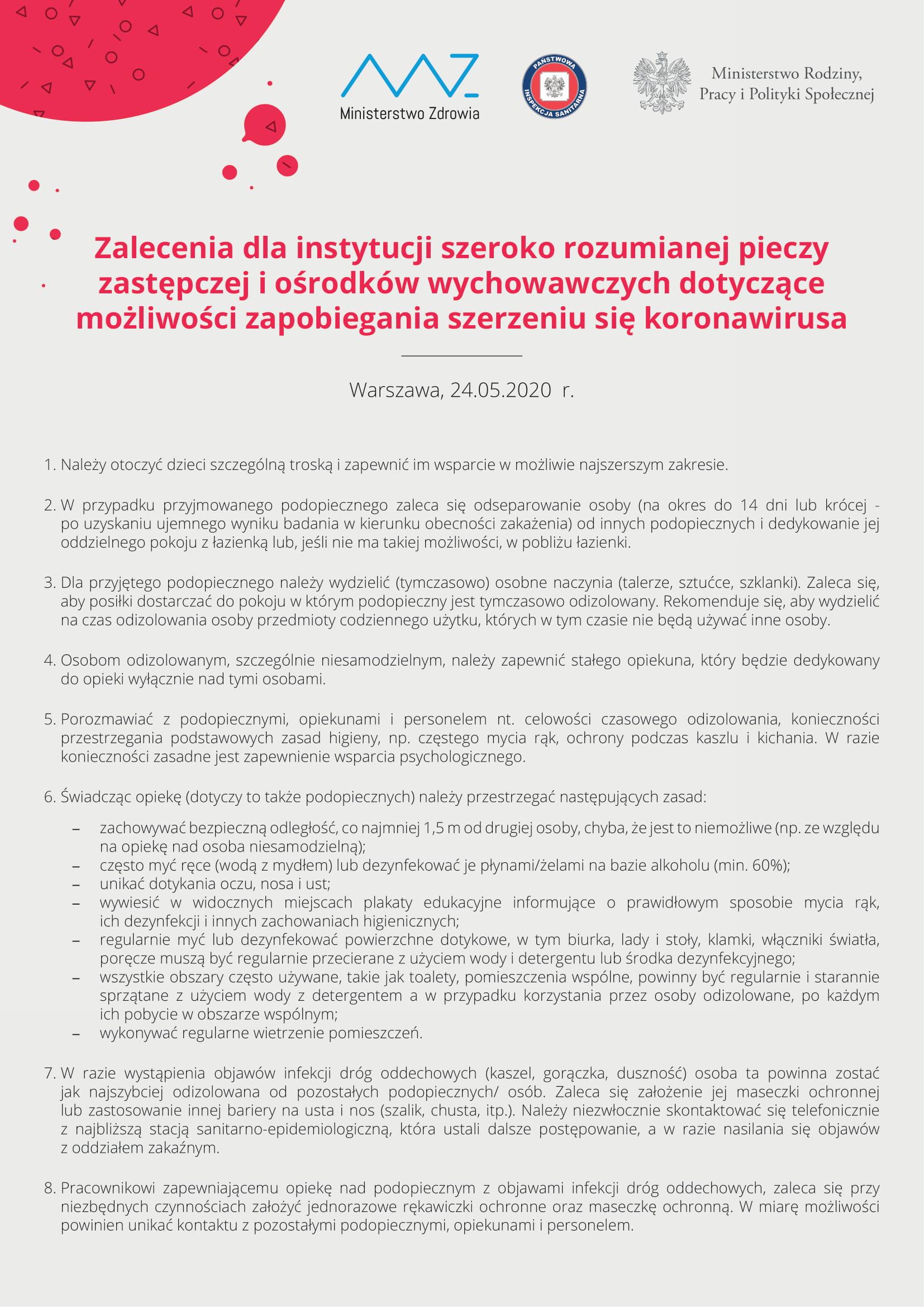 Zalecenia Ministerstwa Zdrowia dla rodzin zastępczych oraz instytucji pieczy zastępczej