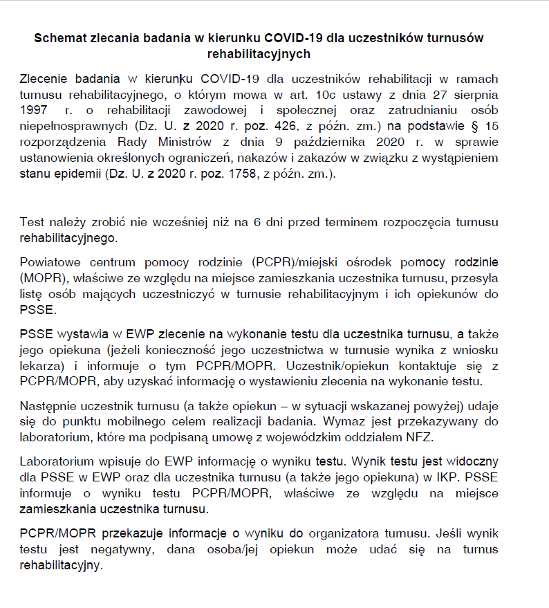Schemat zlecania badania w kierunku COVID-19 dla uczestników turnusów rehabilitacyjnych