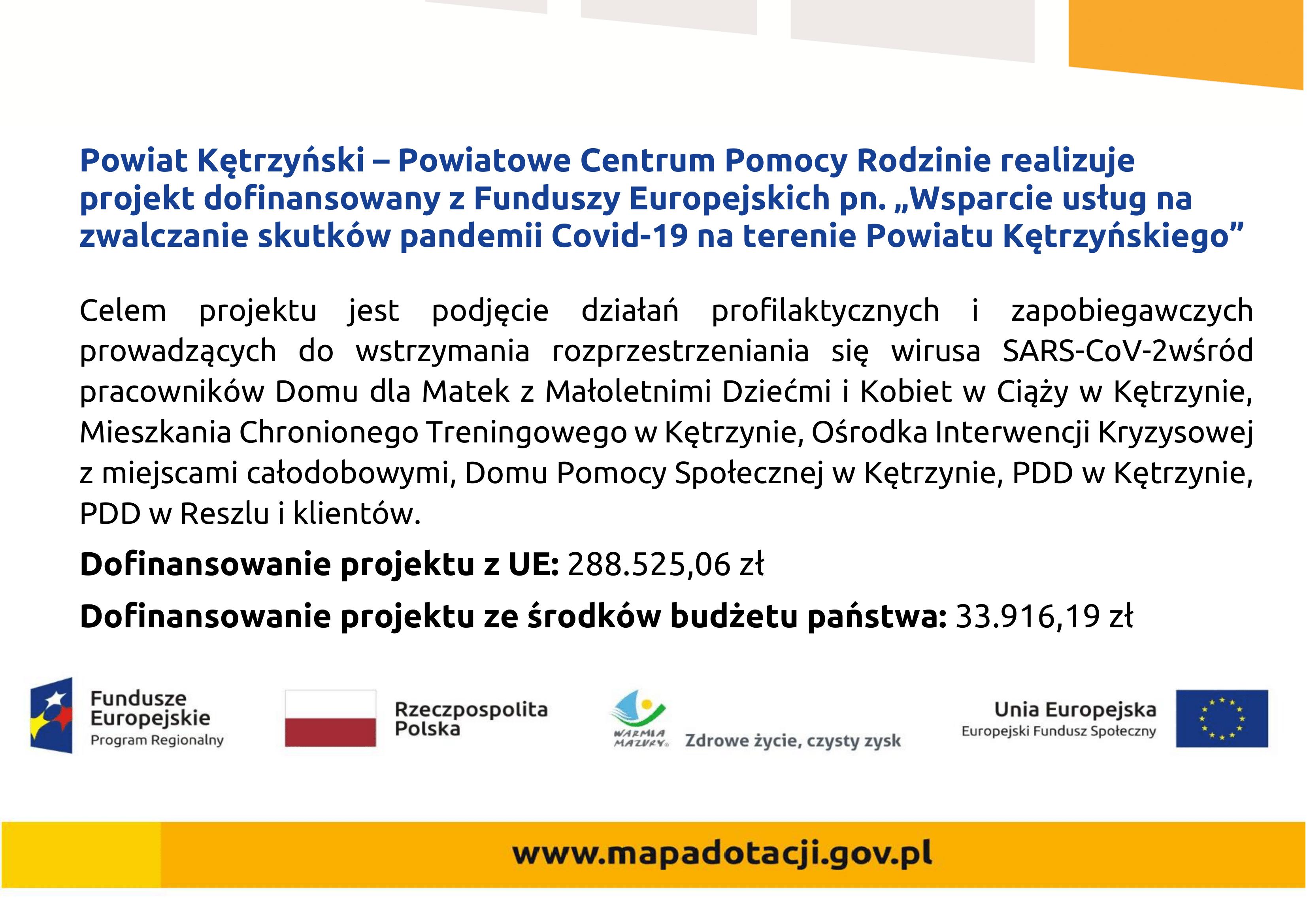 Wsparcie usług na zwalczanie skutków pandemii Covid-19 na terenie Powiatu Kętrzyńskiego