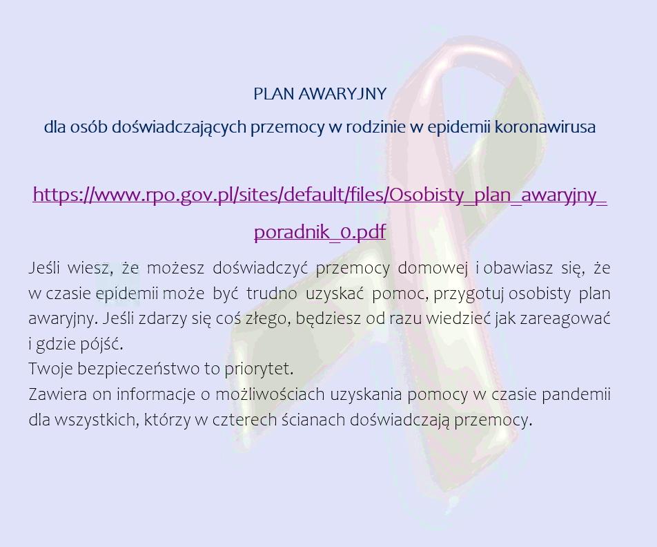 Plan awaryjny dla osób doświadczających przemocy w rodzinie w epidemii koronawirusa